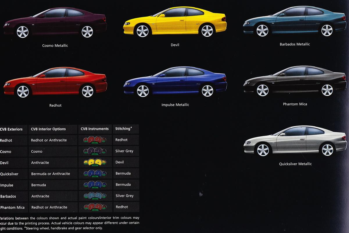 Monaro Car Club of Victoria - V2 - Series 3 Paint Colours